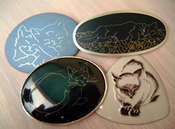 Cat brooches wire inlay
